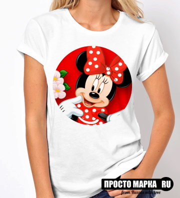 Женская Футболка Minnie with a red bow