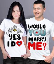 Парные футболки Would you marry me? Yes, I do.