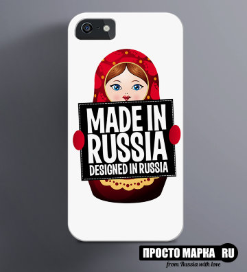 Чехол на iPhone Made in Russia матрешка