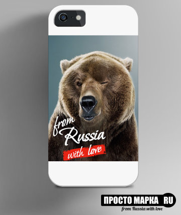 Чехол на iPhone с медведем - From Russia with love